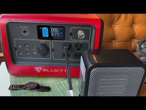Bluetti EB70 wattage test with portable heaters