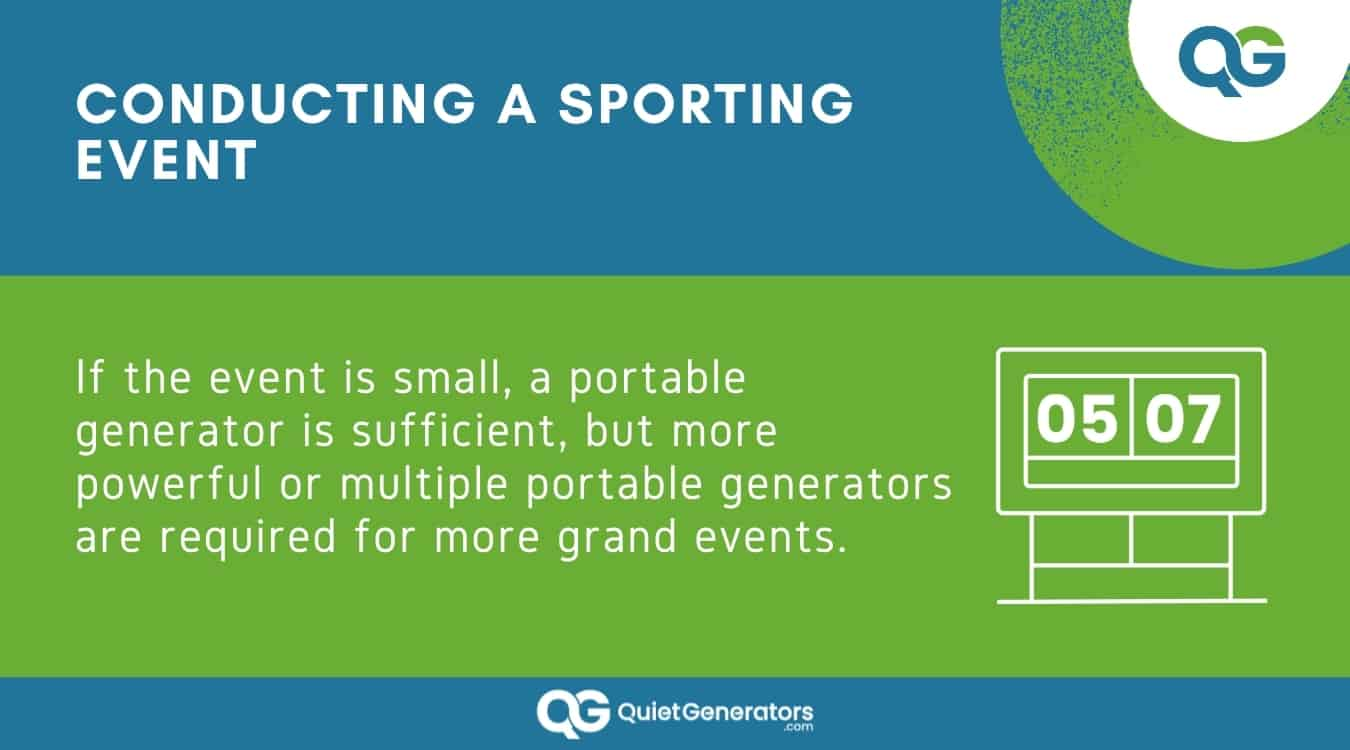 Infographic on why to have a generator in sporting events