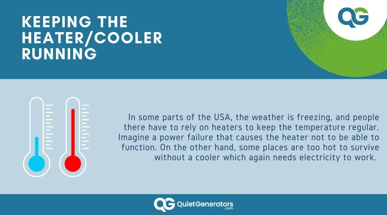 Infographic about keeping heaters and coolers running with a generator
