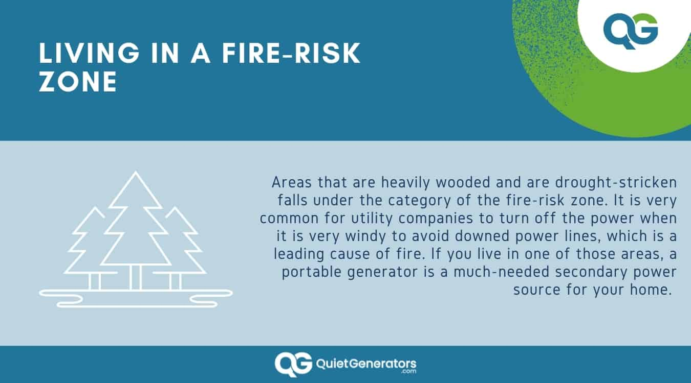 Infographic about why it's important to have generators in fire-risk zones