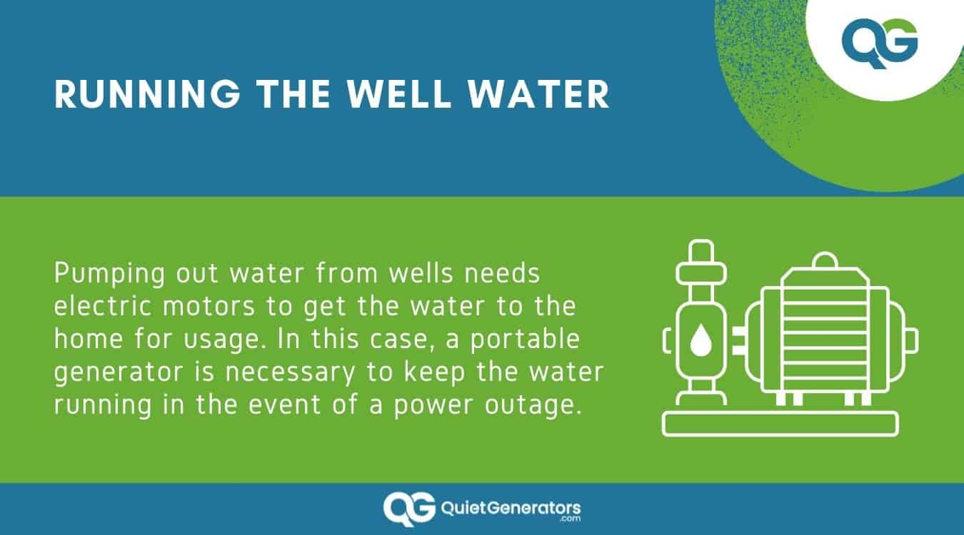 Infographic with an icon of an electric water pump on the right
