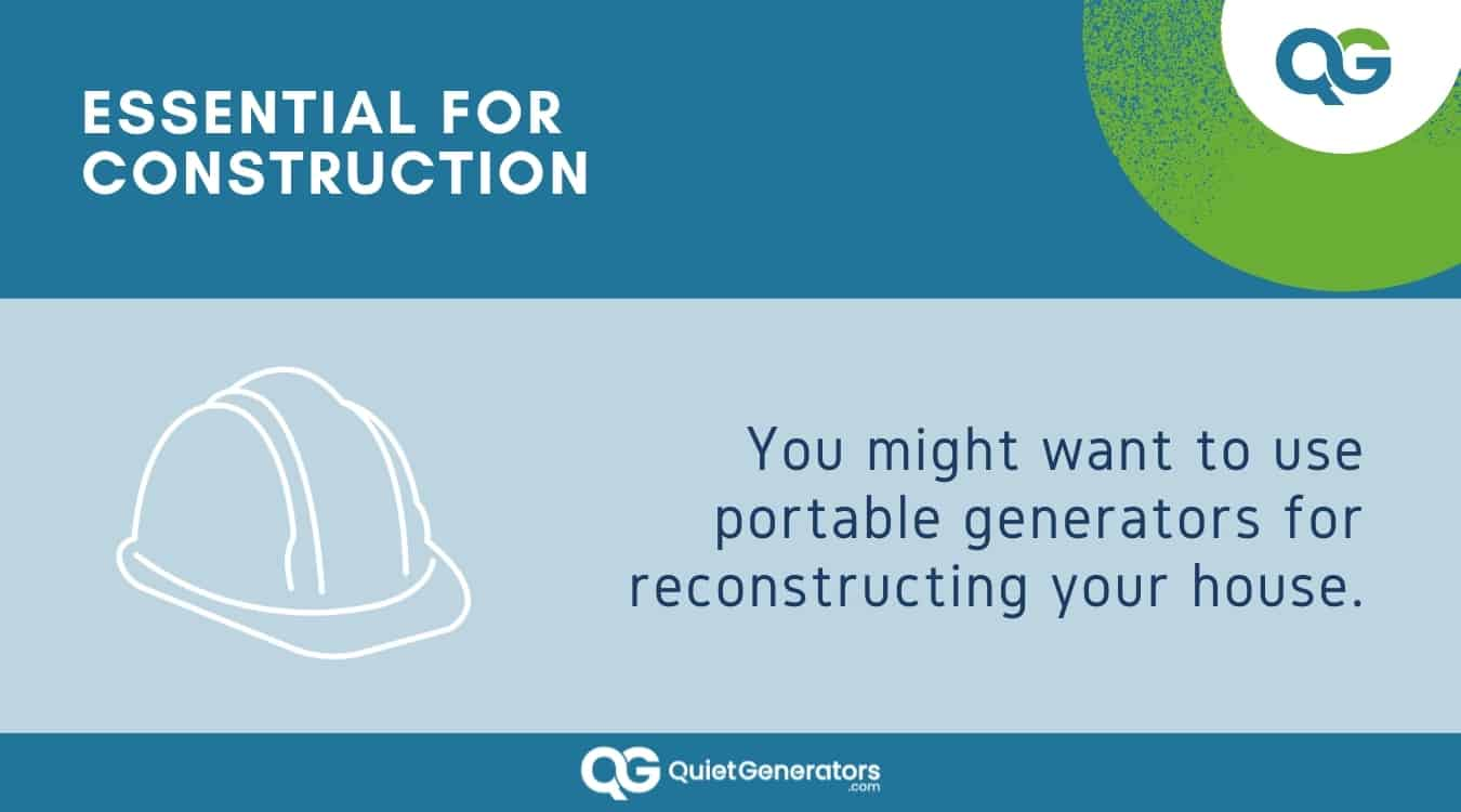 Infographic about generators being used in construction sites