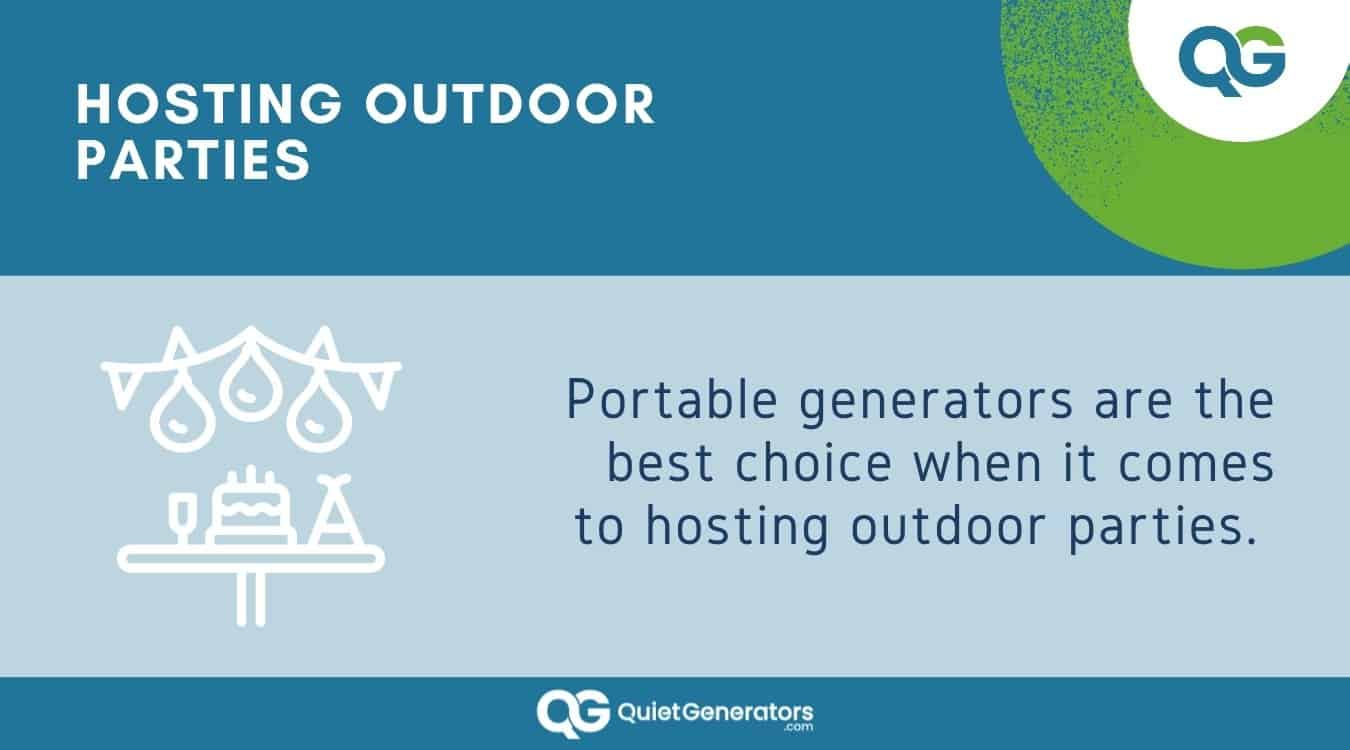 Infographic about using generators in outdoor parties