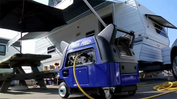 3000 watt generator next to a recreational vehicle