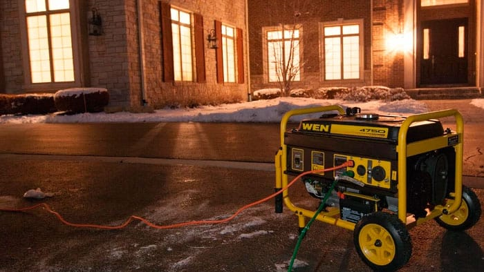 wen 56475 portable generator on a cold street