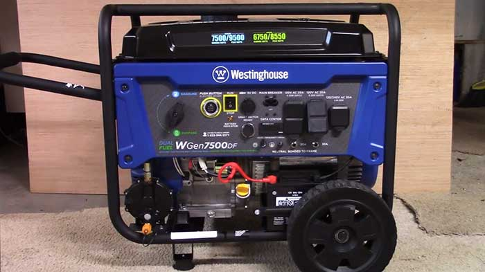 7500 df portable generator in a garage