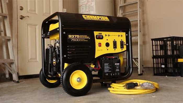 7500w generator in a garage