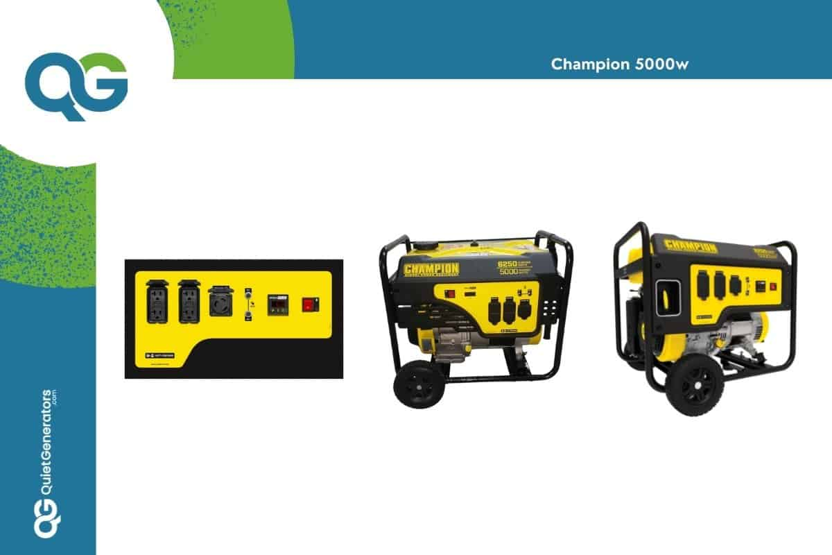 Yellow champion 5000w generator seen in two positions and control panel