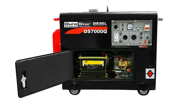 durostar diesel generator with the panel opened