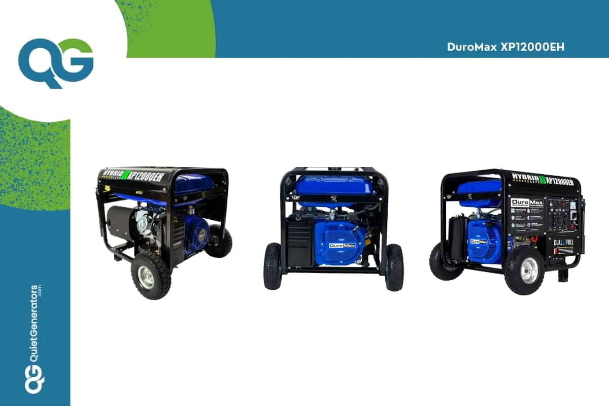blue generator Duromax XP12000EH seen from three angles