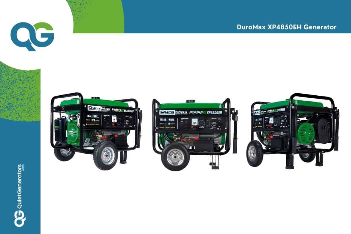 green generator DuroMax xp4850EH seen in three positions