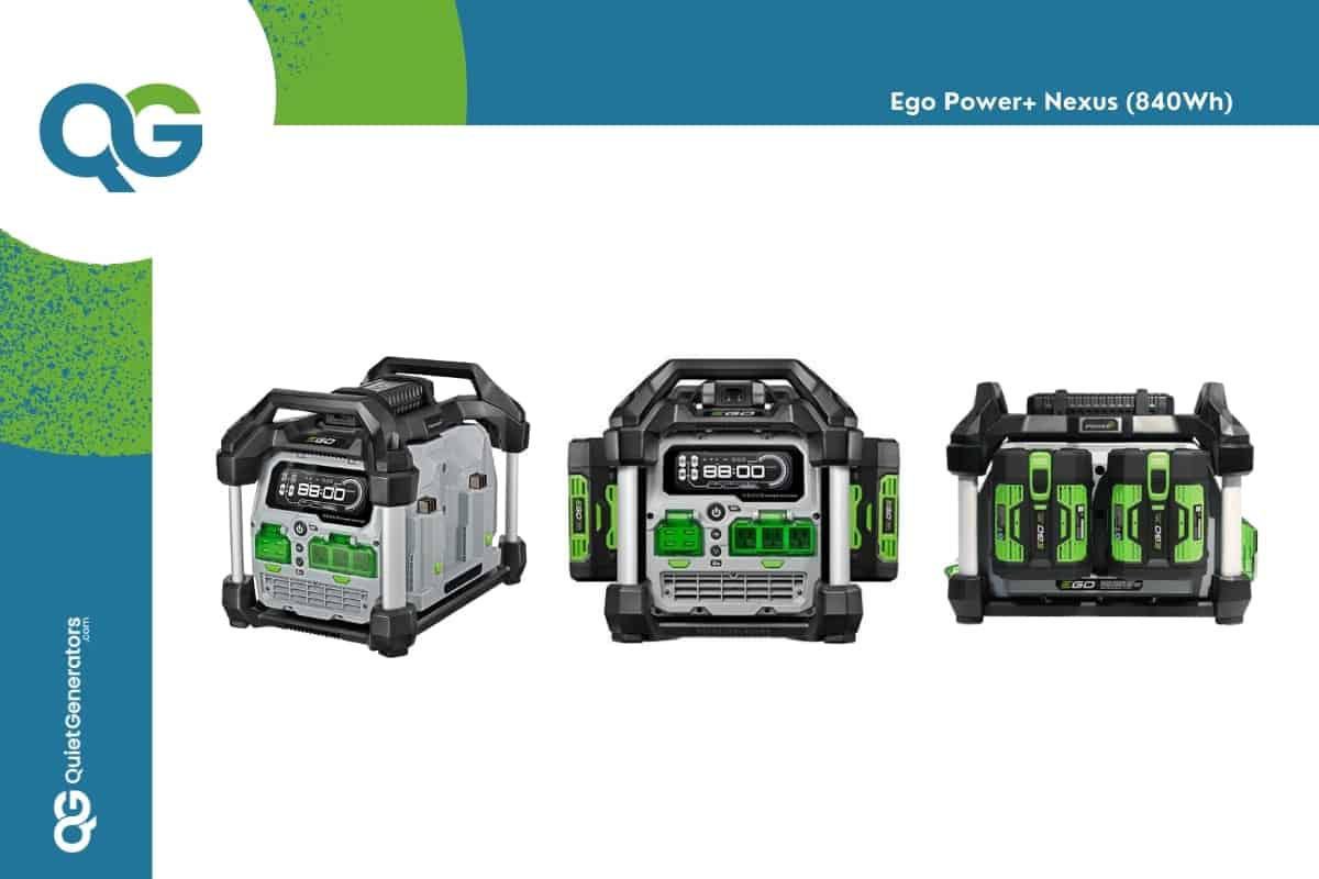 gray and green Ego Power Nexus seen from three different angles