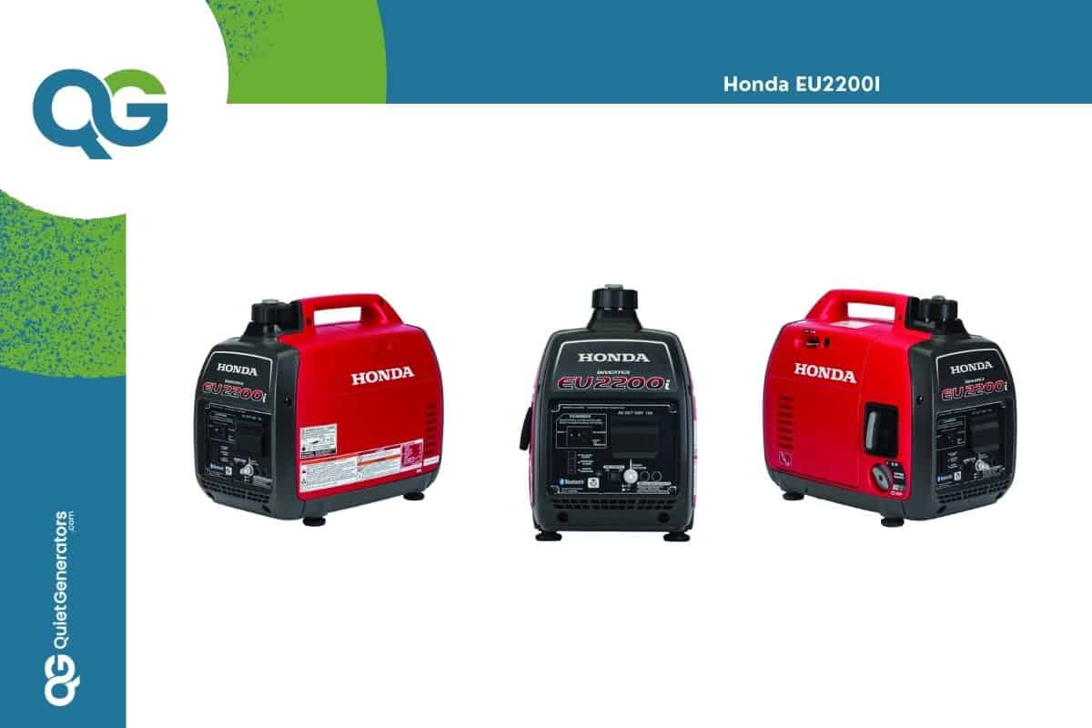 Red Honda EU2200I in three different angles