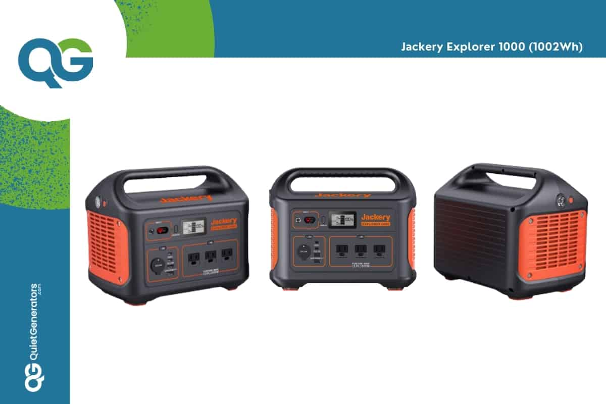 orange with black Jackery Explorer 1000WH seen from 3 angles