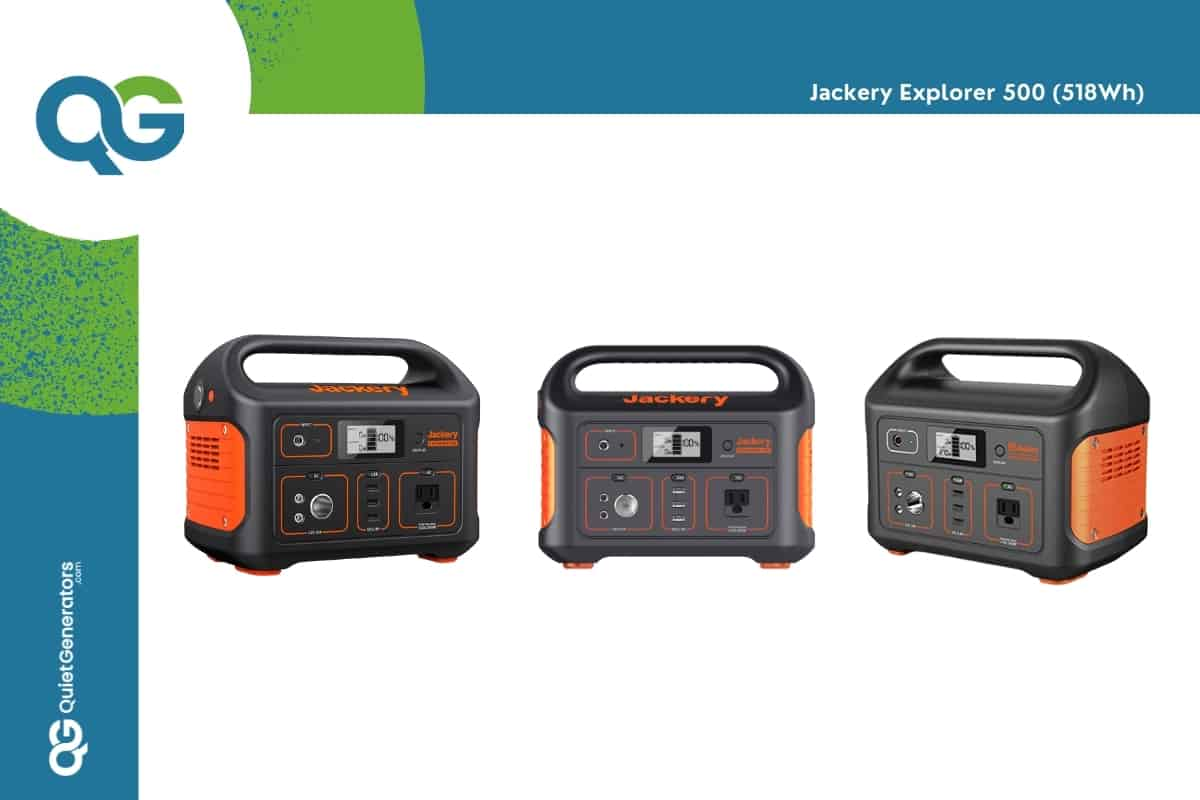 orange with black Jackery Explorer 500wh seen from 3 angles