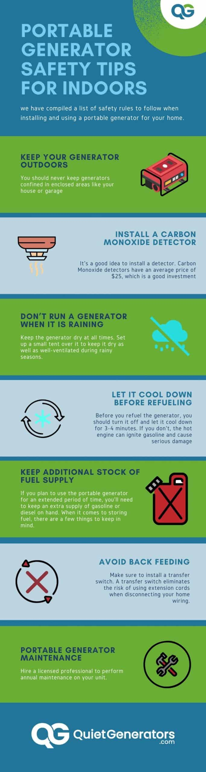 infographic on 7 points of advice on generators