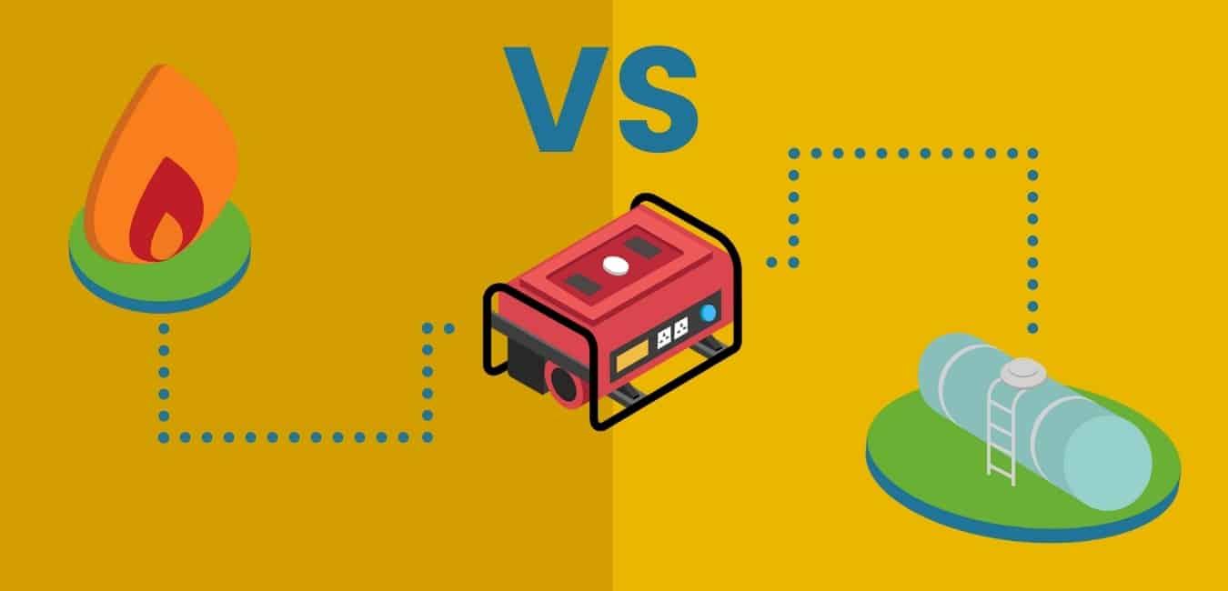 illustration of natural gas vs propane gas generators