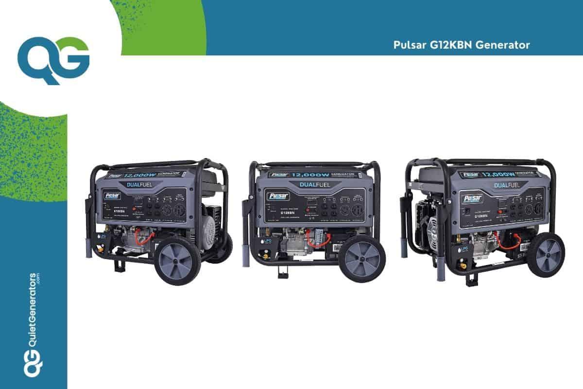 gray generator G12KBN seen in three positions