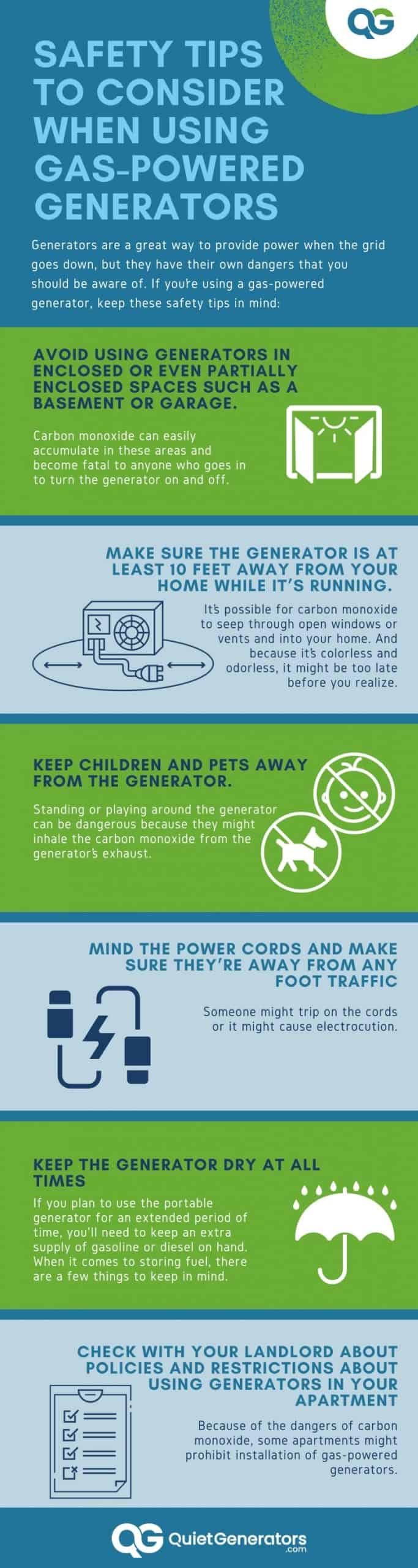 6-point infographic with tips for generator safety
