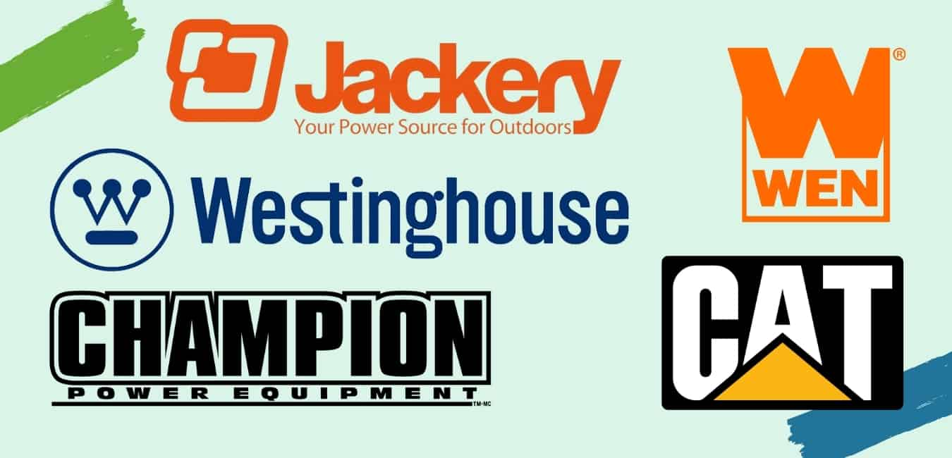 image with the logos of 5 brands (Jackery, Cat, Westinghouse, Champion, Wen)
