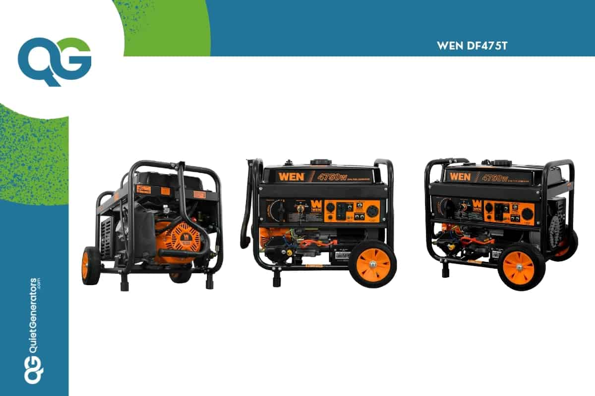 orange generator with black WEN DF475T Dual Fuel viewed from three angles