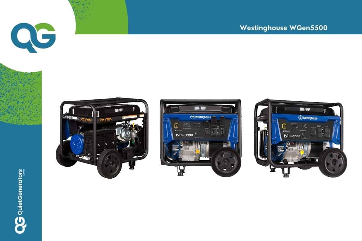 Blue Westinghouse WGen5500 seen from three different angles