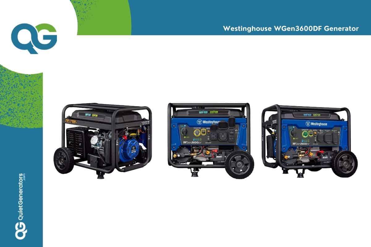 Blue generator WGen3600DF seen in three positions