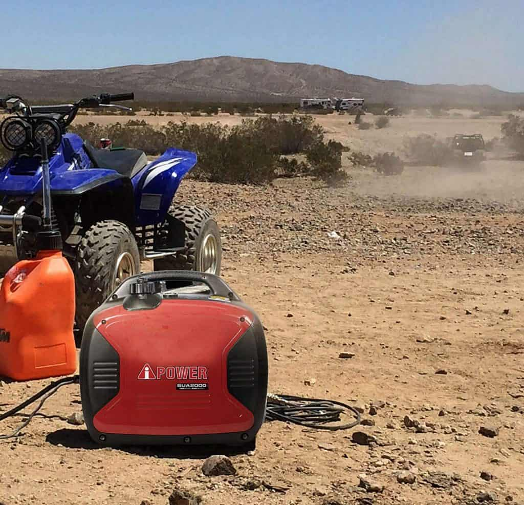 portable generator with a budget setup in the desert