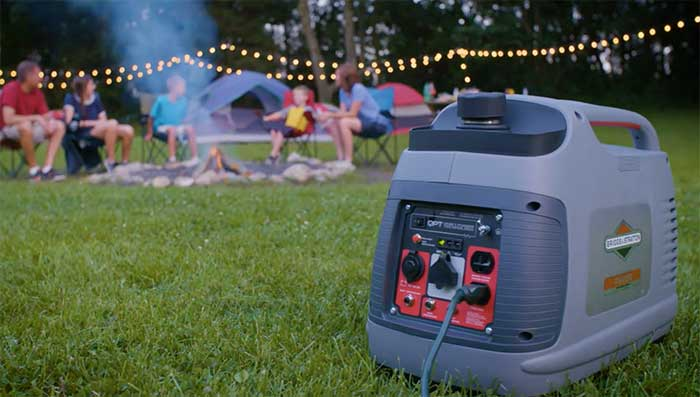 Briggs & Stratton 2200 watts generator at a campfire