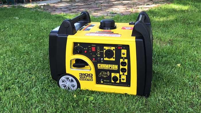 Champion 3100 watt inverter on green grass
