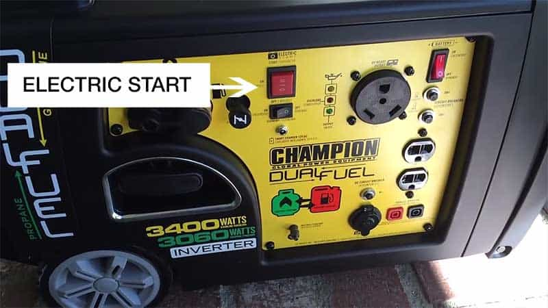 Electric start button on a Champion 3400W portable generator