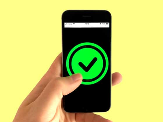 mobile phone showing green checkmark