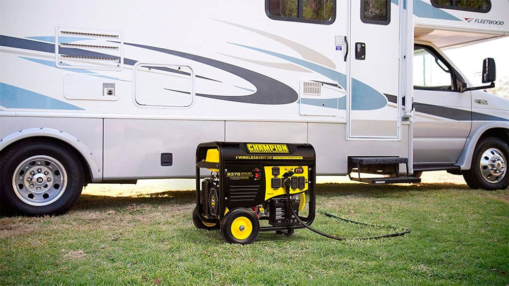 champion 7500w generator with the 50 amp outlet plugged in to a rv