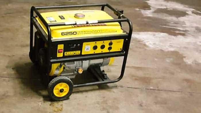 champion generator in a garage