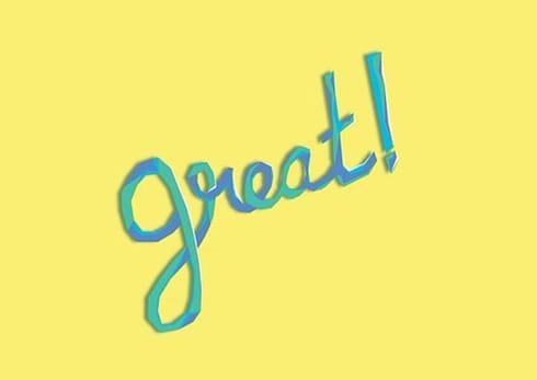 """long-handwritten word """"great"""""""