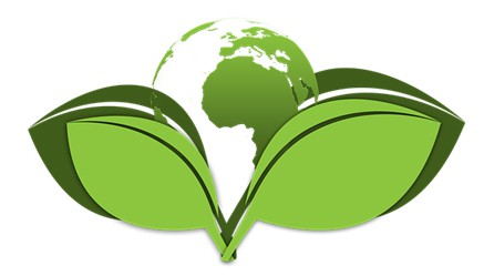 green logo of two leaves with a globe at the center