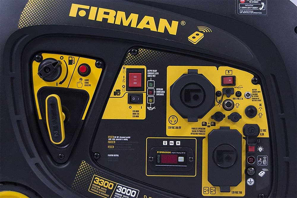 closeup of the control panel on the firman 3300 watt generator