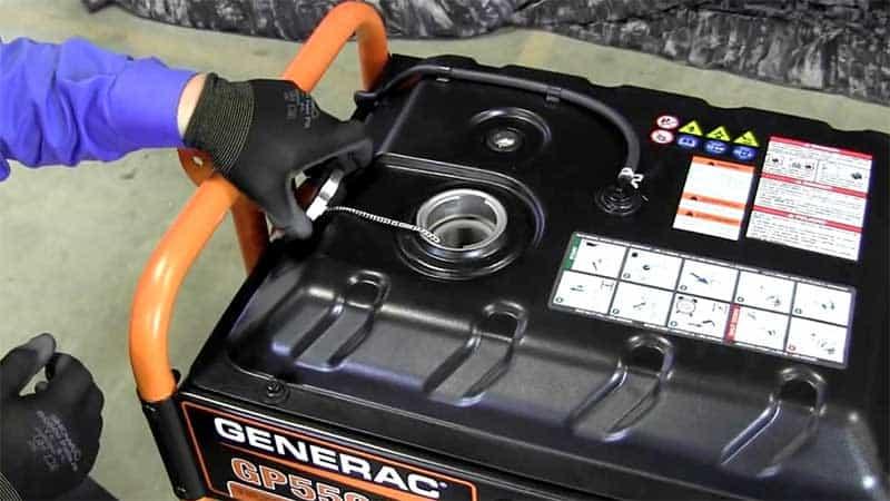 Generac Generator with the fuel cap open