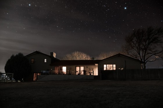 night view of a well-lighted house