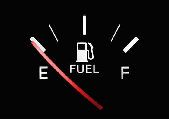 fuel gauge at empty level