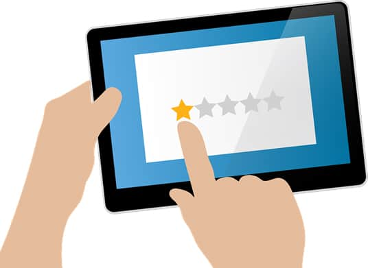 cartoon of two hands bringing a tablet and giving a one out of five stars rating