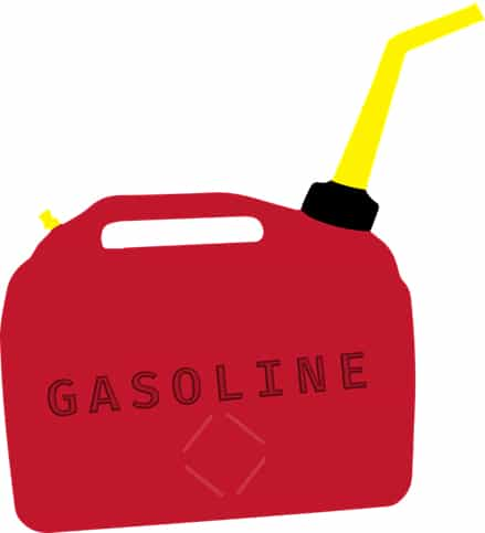 cartoon of a red gasoline container