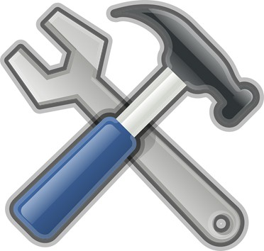 hammer and adjustable wrench clipart