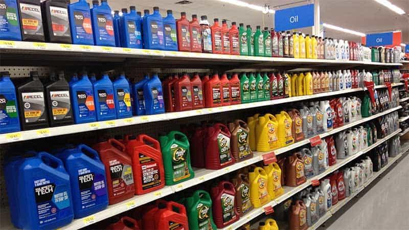 Shelf of motor oil in a store