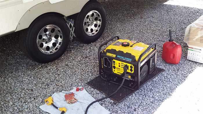 Fixing an inverter next to a recreational vehicle