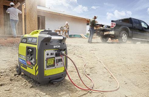 ryobi 2300w generator at a construction site