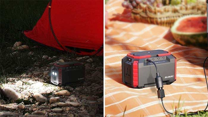 Solar battery next to a tent