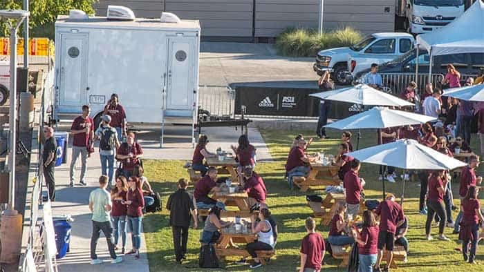 Tailgating party seen from above
