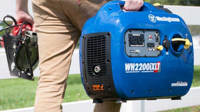 Man going to camp with a portable generator