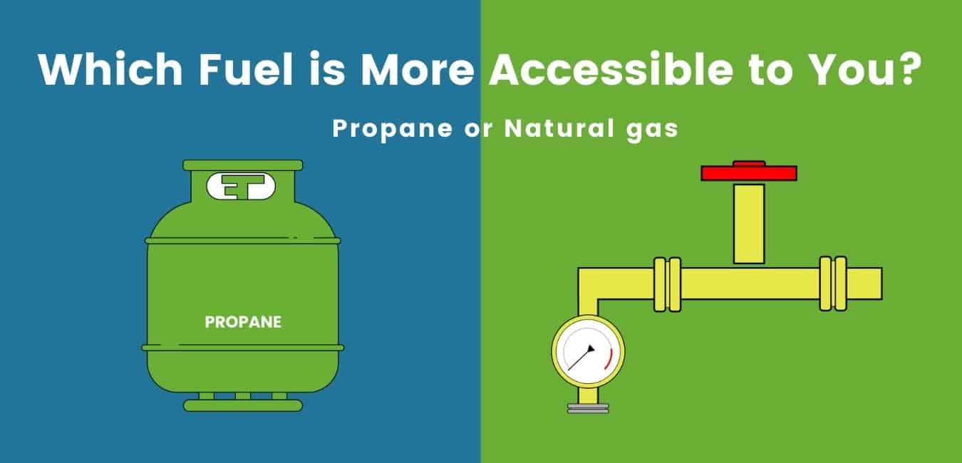 illustration of green natural gas cylinder and yellow propane gas pipe